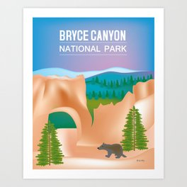 Bryce Canyon National Park, Utah - Skyline Illustration by Loose Petals Art Print
