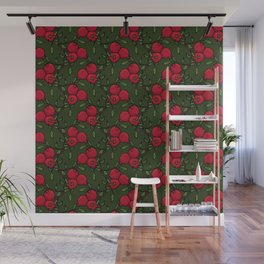 Pomegranate - Red and Green Doodle Pattern Wall Mural