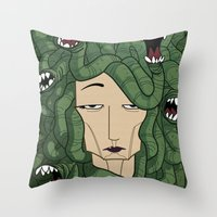 medusa Throw Pillows featuring Medusa by Tram