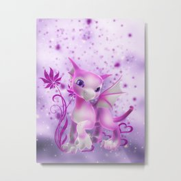 Cuddle me Dragon in pink Metal Print