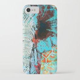Indian Sketch Elephant Blue Orange iPhone Case