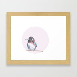Hummingbird on pink background Framed Art Print