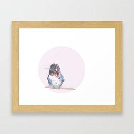 Hummingbird on pink background Framed Art Print
