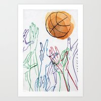 basketball Art Prints featuring Basketball by alrightmike