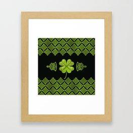 Irish Shamrock Four-leaf clover with celtic decor Framed Art Print