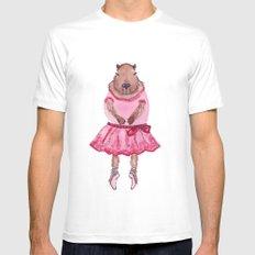 Capybara Ballerina  MEDIUM White Mens Fitted Tee
