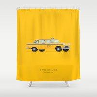 taxi driver Shower Curtains featuring Taxi Driver  | Famous Cars by Fred Birchal