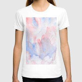 Abstract Watercolor Minimalist Quiet Murmur III periwinkle pink marble T-shirt