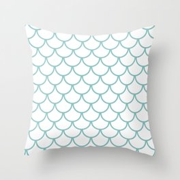 Chalky Blue Fish Scales Pattern Throw Pillow