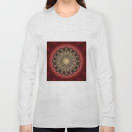 Boho chic Red Gold Mandala Long Sleeve T-shirt