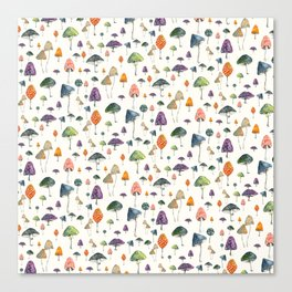 Watercolor mushrooms pattern on cream background Canvas Print