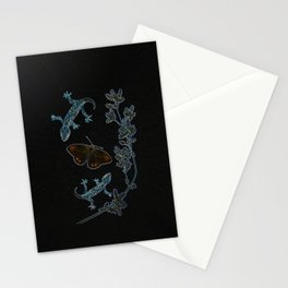 Butterfly With Geckos Stationery Cards