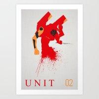 evangelion Art Prints featuring Evangelion Unit 02 by DaveBot
