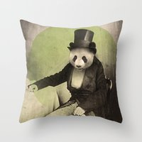 panda Throw Pillows featuring Proper Panda by Chase Kunz