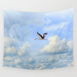 Flying stork Wall Tapestry