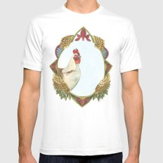 Quilted Forest // Charles the Chicken MEDIUM Mens Fitted Tee White
