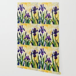 Watercolor Wild Iris on Wrinkled Paper Wallpaper