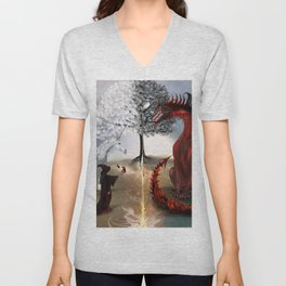 The Owl,Wizard,Unicorn and the Dragon Unisex V-Neck