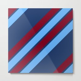 Maroon and Shades of Blue Stripes Metal Print