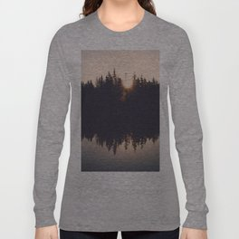 Wooded Lake Reflection  - Nature Photography Long Sleeve T-shirt