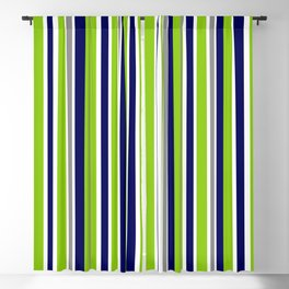 Lime Green Bright Navy Blue Gray and White Vertical Stripes Pattern Blackout Curtain