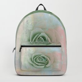 Elegant Painterly Mint Green Rose Abstract Backpack