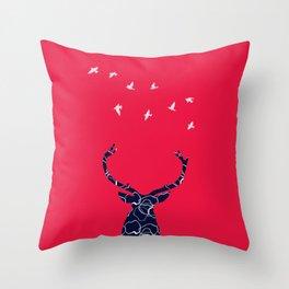 cerf bleu et rouge Throw Pillow