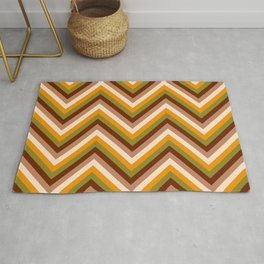 Vintage chevron thin lines brown, orange autumn quilt Rug