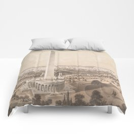 Vintage Pictorial Map of Washington DC (1852) Comforters