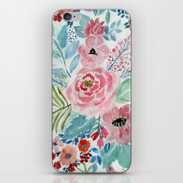 Pretty watercolor hand paint floral artwork. iPhone Skin