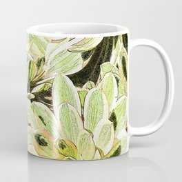 Yellow Desert Echeveria Pattern Coffee Mug