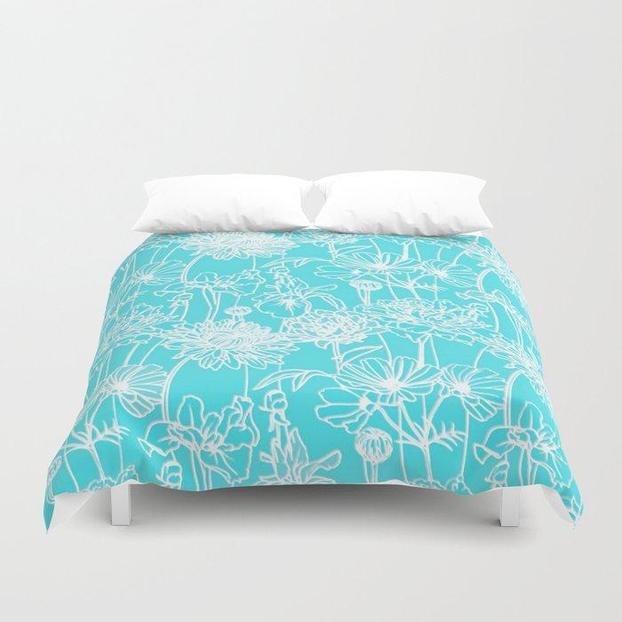 white flowers on turquoise Duvet Cover