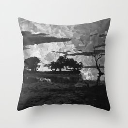 Sunset over the Lake Watercolor (Black and White) Throw Pillow