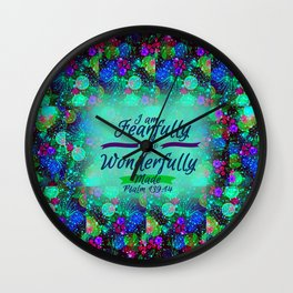FEARFULLY AND WONDERFULLY MADE Floral Christian Typography God Bible Scripture Jesus Psalm Abstract Wall Clock