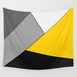 Simple Modern Gray Yellow and Black Geometric Wall Tapestry