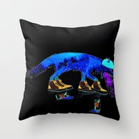 drunk Throw Pillows featuring Drunk Fox by Jesse Robinson Williams