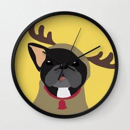 Black Frenchie in Reindeer Costume  Wall Clock