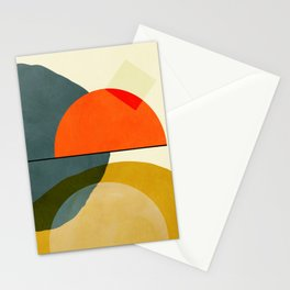 mid century geometric modern painting abstract II Stationery Cards