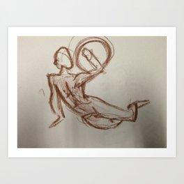 Nude Man With Shield Art Print