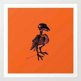 Raven Skeleton (Black on Orange) Art Print