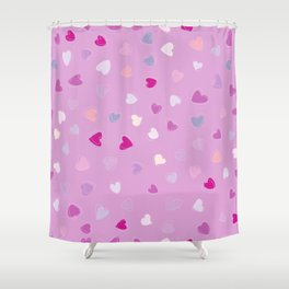 Love, Romance, Hearts - Blue Purple Pink White Shower Curtain