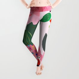 Flamingos. Exotic Birds with cactus and roses artistic design pattern Leggings