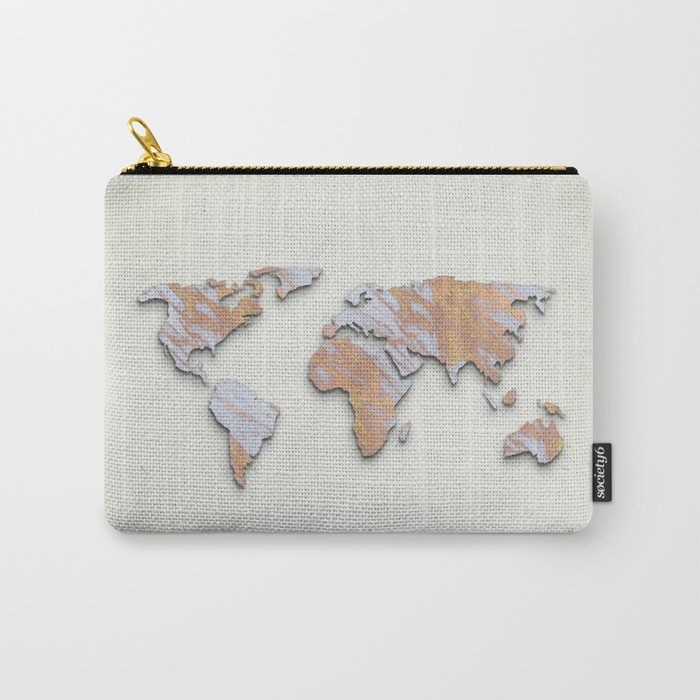 Rose Gold Marble Map - RoseGold World II Carry-All Pouch