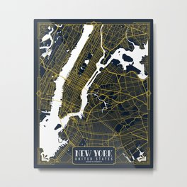 New York City Map of the United States - Gold Art Deco Metal Print