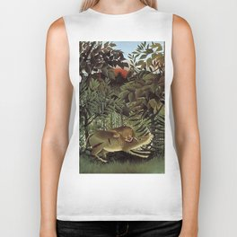 THE HUNGRY LION ATTACKING AN ANTELOPE - ROUSSEAU Biker Tank