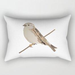 House Sparrow Bird on a Twig Rectangular Pillow