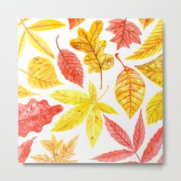 Atumn leaves watercolor Metal Print