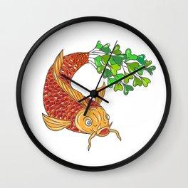 Koi Nishikigoi Carp Fish Microgreen Tail Drawing Wall Clock
