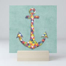Geometric Rainbow Anchor Mini Art Print