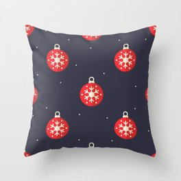 Red Christmas Ornament Pattern Throw Pillow